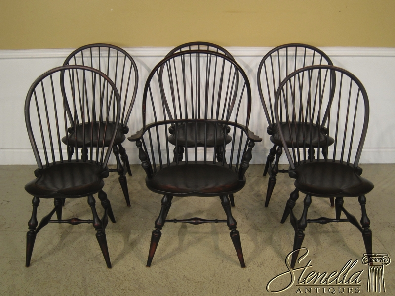 Set Of 6 DR DIMES Black Decorated Loop Back Windsor Chairs & www.stenellaantiques.com
